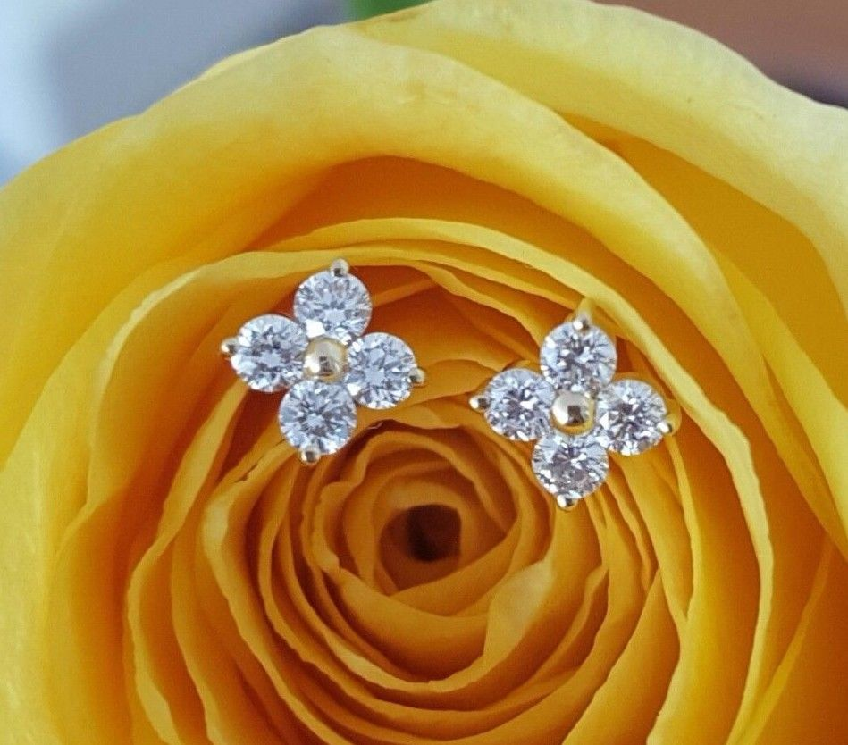 0.24tcw G/SI1 Diamond Stud 'Florette' Earrings in 18k 18ct Yellow Gold by CTJ