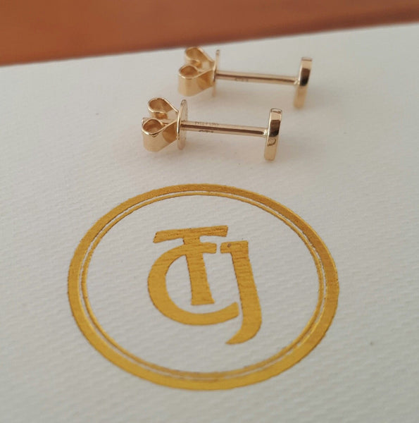 18ct 18k Solid Yellow Gold Heart 'Forever' Stud Earrings - Original Design CTJ