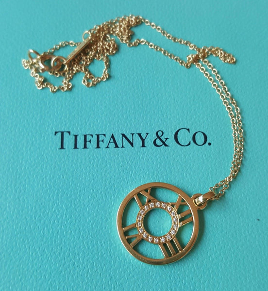 "Tiffany & Co. Yellow 18ct Gold & Diamond Atlas Round Pendant/Necklace 16"" Chain"