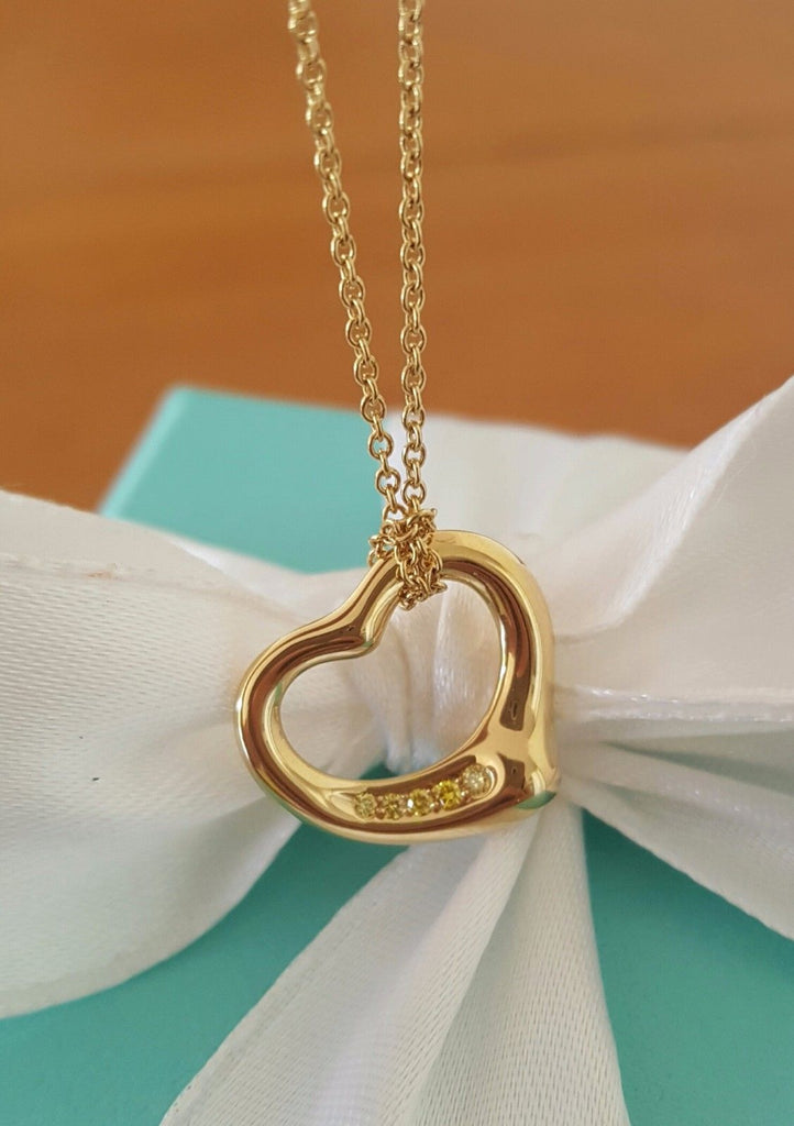 Tiffany co yellow diamond 18k yellow gold small heart pendant diamond necklace tiffany mozeypictures Image collections