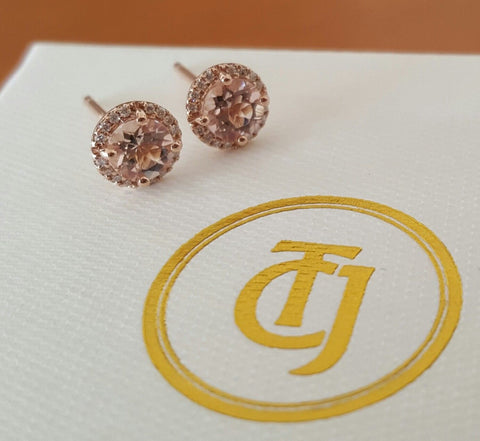 0.80tcw Morganite & 0.10tcw Diamond Stud Earrings in 18k Rose Gold by CTJ
