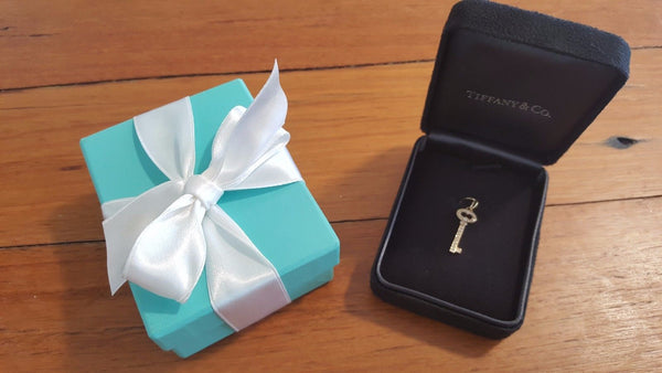 Vintage Tiffany and Co Diamond Necklace. In pre-loved or second hand Tiffany & Co. necklace box.