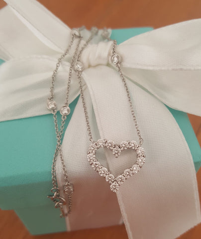Vintage Tiffany & Co. Diamond Heart and DBTY Platinum Necklace.