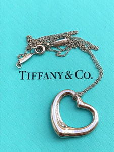 Tiffany & Co. Diamond & Platinum 'Medium' Elsa Peretti Heart Pendant Val/Boxes