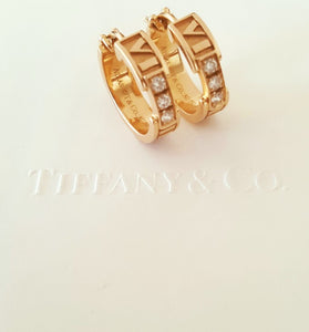 Tiffany & Co. 18ct Rose Gold and Diamond Atlas Earrings RRP $4200
