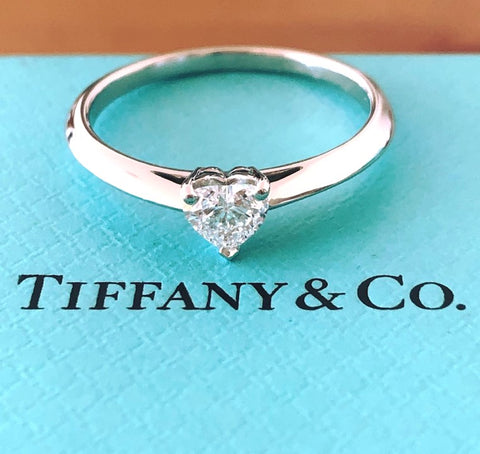 Tiffany & Co. 0.40ct E/VS2 Heart Diamond Platinum Engagement Ring Cert/Val/Boxes