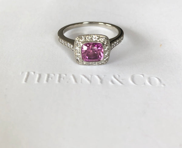 Tiffany & Co. 1.38ct Pink Sapphire & 0.31tcw Diamond Legacy Engagement Anniversary Ring