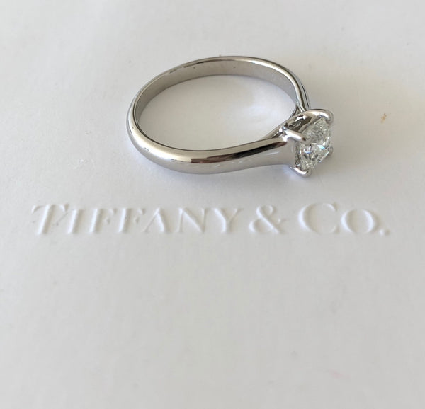 Tiffany & Co. 0.67ct H/IF Lucida Diamond Engagement Ring Platinum Cert/Val/Boxes