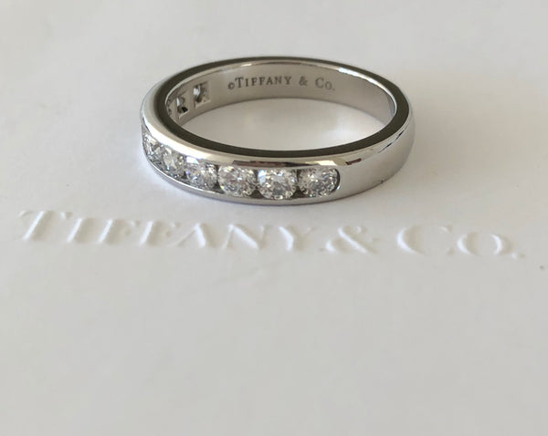 Tiffany & Co. 0.81tcw Diamond Half Eternity Band Platinum Size 7.5 Receipt/Box