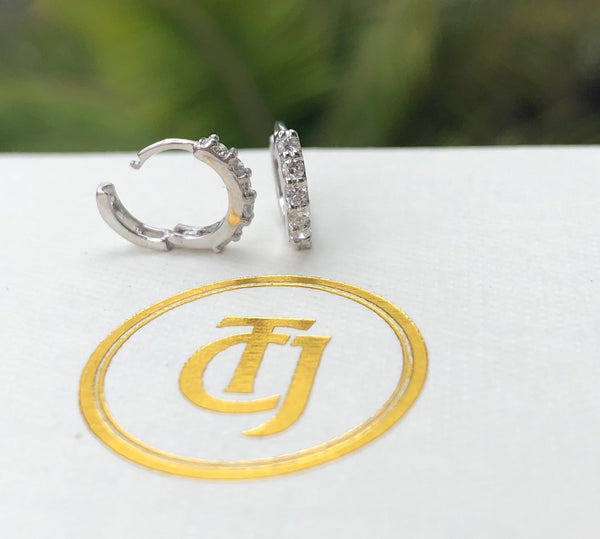 0.22tcw Diamond and 18ct White Gold 9mm Huggie Small Hoop Earrings CTJ