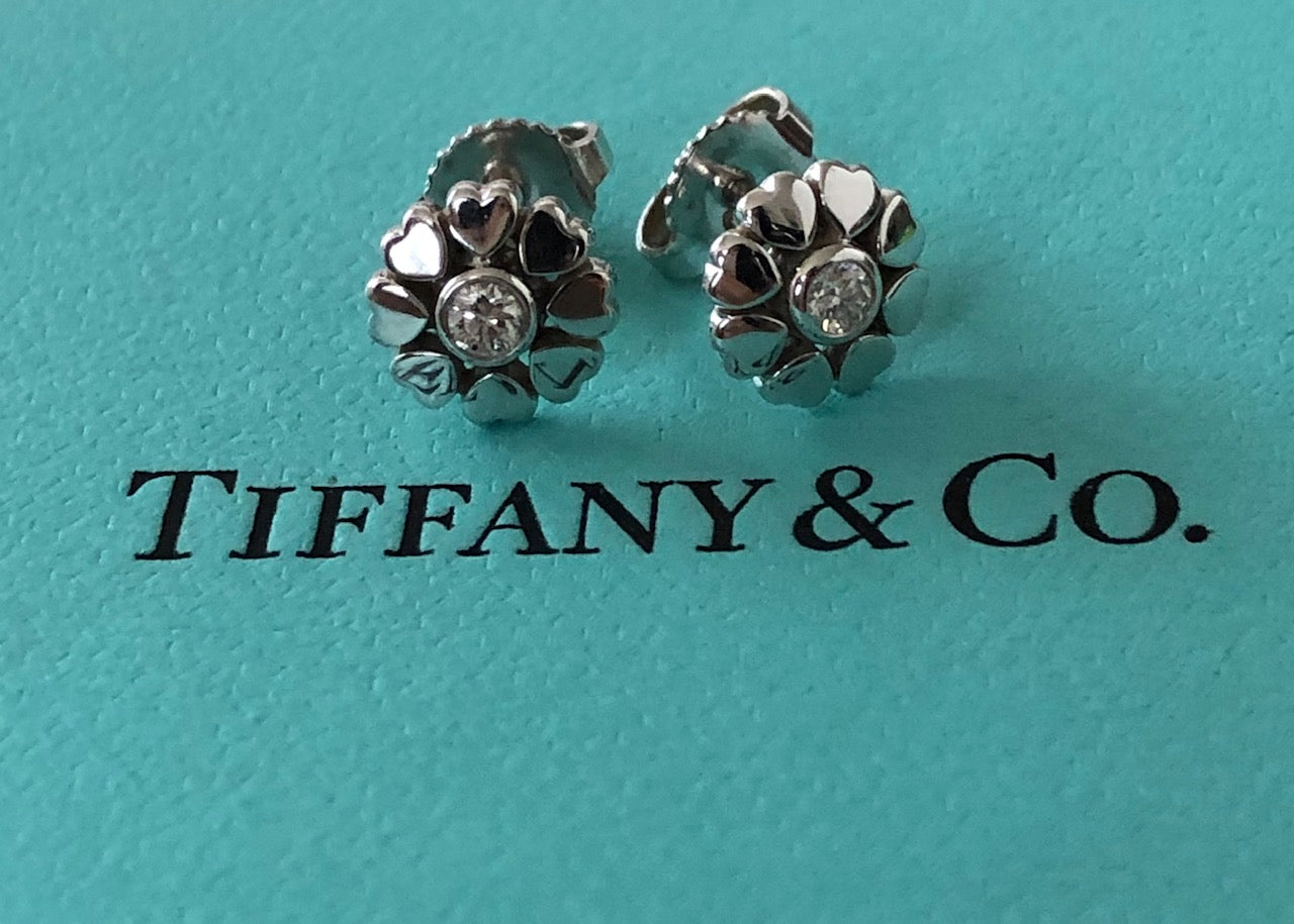 Tiffany & Co. 18ct White Gold and Diamond Paloma Picasso Crown of Heart Earrings