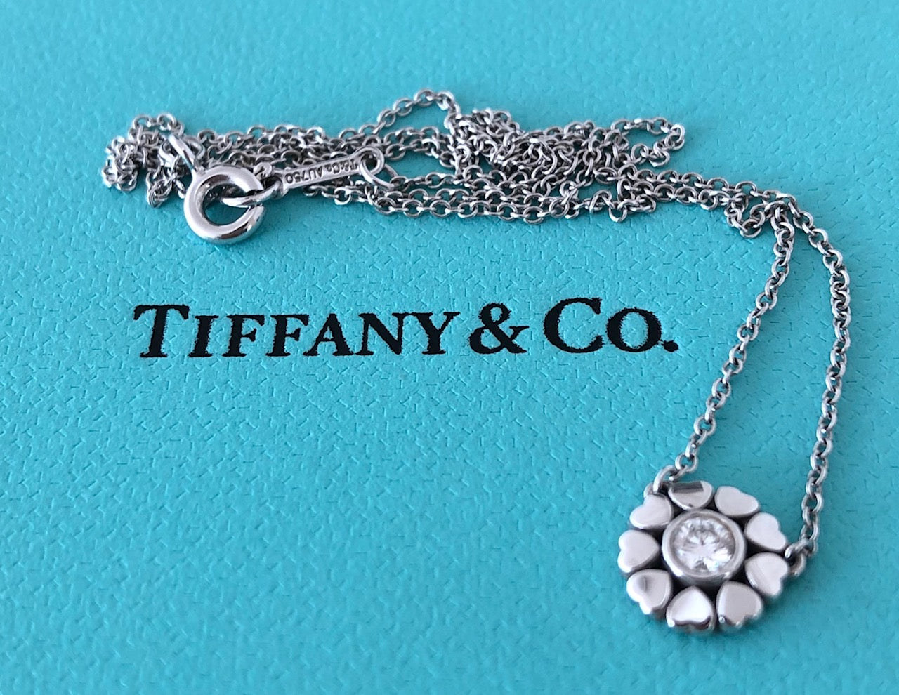 Tiffany & Co. 18ct White Gold and 0.10ct Diamond Paloma Picasso Crown of Heart Pendant Necklace