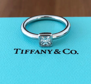 Tiffany & Co. 0.51ct F/VVS2 Princess Cut Diamond Bezet Engagement Ring Platinum