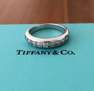 Tiffany & Co. 0.99tcw Lucida Cut Diamond Half Eternity Band Platinum $9150 SZ 7