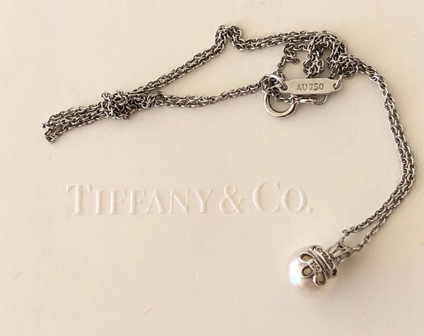 Tiffany & Co. 0.05tcw Diamond 6.5mm Pearl Necklace Pendant 18ct White Gold