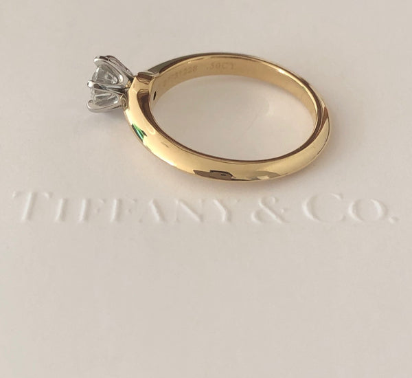Tiffany & Co. 0.50ct H/IF Solitaire Diamond Engagement Ring in 18ct Yellow Gold