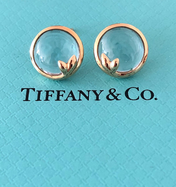 Tiffany & Co. 18ct Yellow Gold and Aquamarine Paloma Picasso Stud Earrings