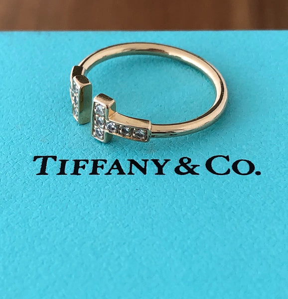 Tiffany & Co. 0.13tcw Diamond and 18ct Yellow Gold 'T' Ring size 5.5
