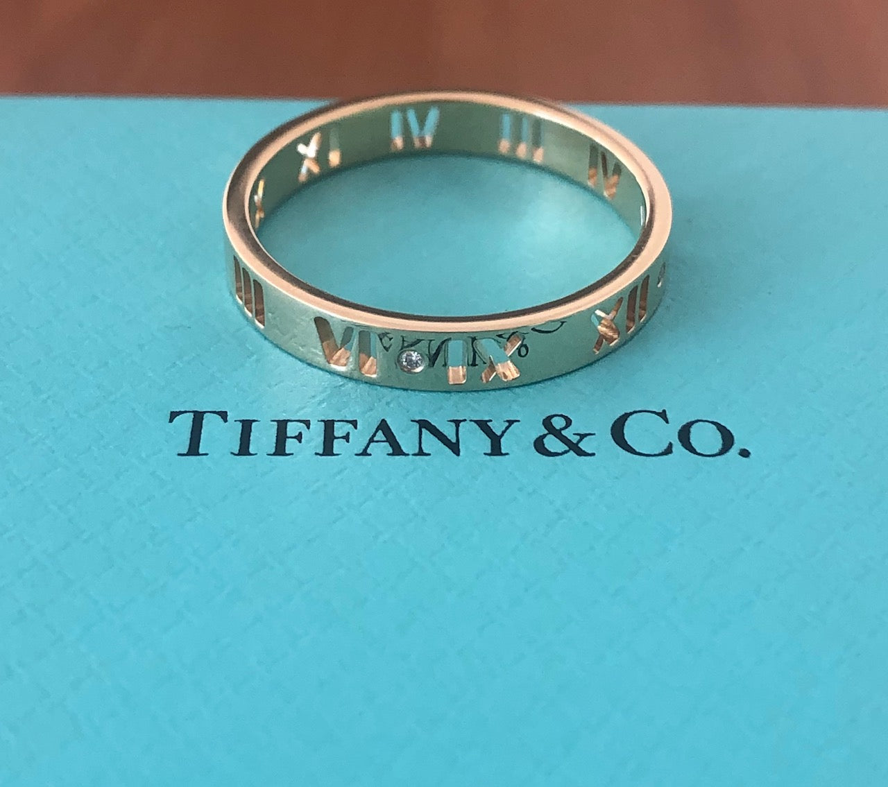 Tiffany & Co. Pierced Atlas Diamond Ring in 18ct Yellow Gold Size 9.5