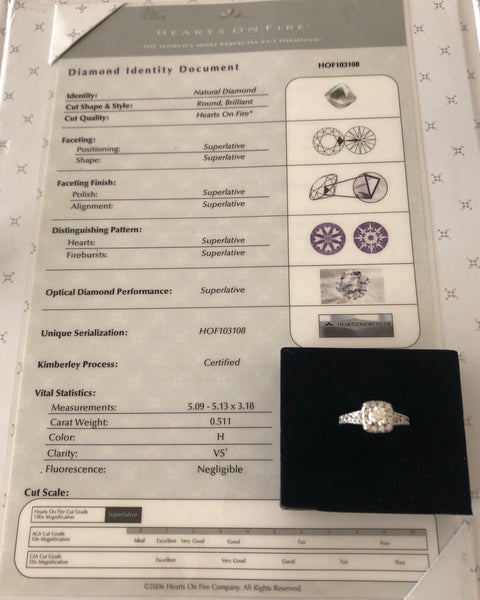 Hearts on Fire Ideal Cut 1.01tcw H/VS Diamond Engagement Ring 18ct White Gold