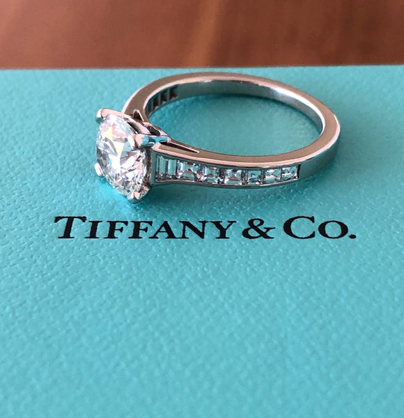 Tiffany & Co. 2.16tcw (1.56ct Centre) H/VS2 Diamond Engagement Ring with Accents PT950 Cert/Val/Box