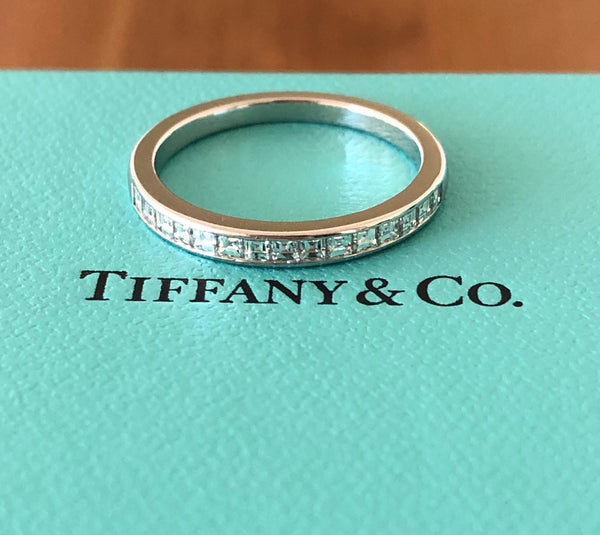 Tiffany & Co. Square Faceted Diamond Wedding Anniversary Band in Platinum 2.2mm