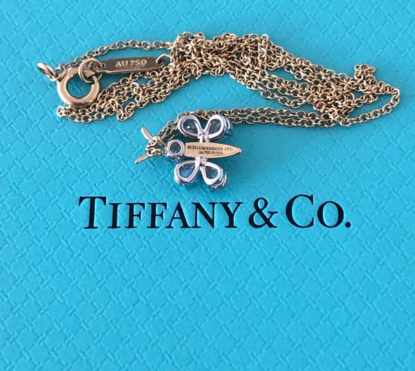 Tiffany & Co. 0.64tcw Diamond Schlumberger Butterfly Pendant Necklace PT950 Gold