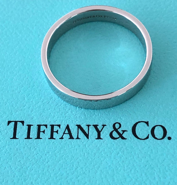 Tiffany & Co. Mens Platinum Wedding Band Ring 4mm Size 8.5 Receipt RRP $2700