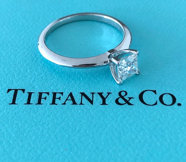 Tiffany & Co. 0.59ct F/VS2 Diamond Princess Cut Engagement Ring Platinum