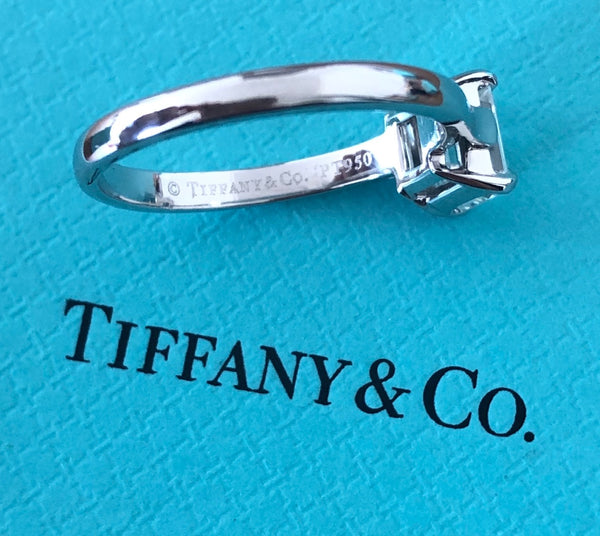 Tiffany & Co. 1.12ct H/VVS1 Diamond Emerald Cut Solitaire Engagement Ring Cert/Val