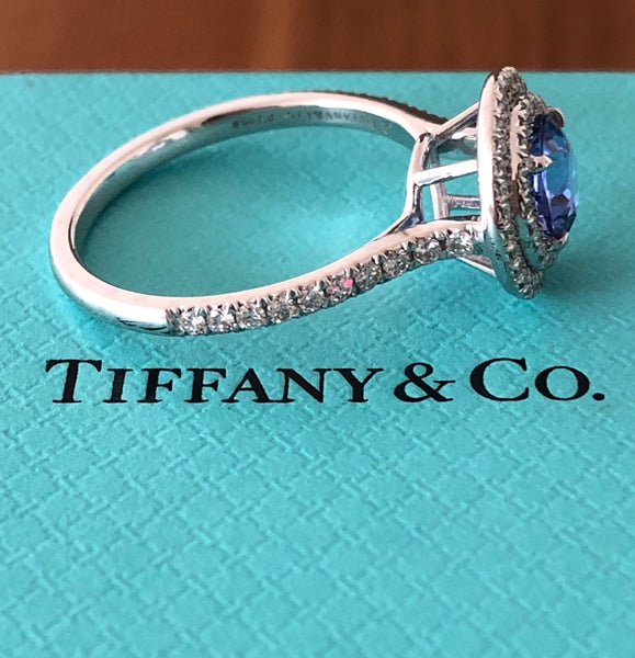 Tiffany & Co. 1.25ct Tanzanite & 0.46tcw Diamond Double Halo Soleste Ring $13500