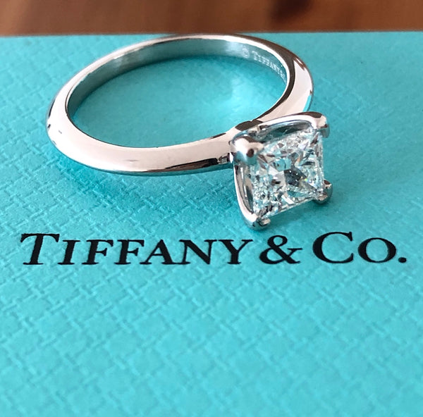 Tiffany & Co. 1.04ct F/VS1 Diamond Princess Cut Solitaire Engagement Ring Cert/Val