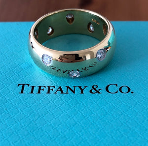 Tiffany & Co. 7.5mm Wide Etoile Diamond Platinum & 18ct Yellow Gold Band Sz 6.5