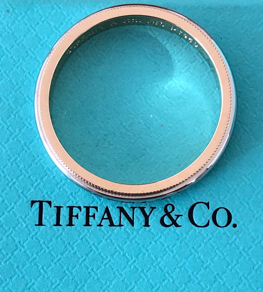 Tiffany & Co. 3mm Platinum and 18ct Yellow Gold Milgrain Band Ring Size 11.75