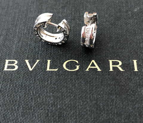 Bvlgari Bulgari Bzero1 Diamond and 18ct White Gold Earrings REF:345581 RRP $6200