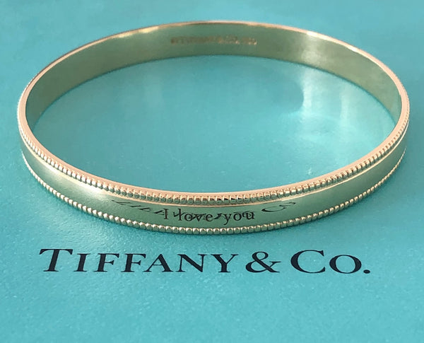 Tiffany & Co. Solid 18ct Yellow Gold Vintage I LOVE YOU Milgrain Bracelet Bangle 6.7cm wide