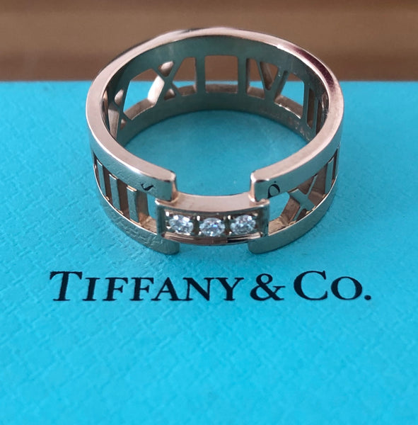 Tiffany & Co. Solid 18ct Rose Gold and Diamond Wide Atlas Open Ring Sz 8.5 $3800