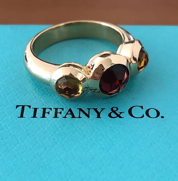 Tiffany & Co. Vintage Garnet & Citrine Rose Cut 3 Stone Ring in 18ct Yellow Gold