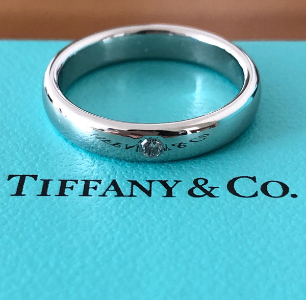 Tiffany & Co. 3mm Lucida Platinum Band Ring with 1 Lucida Cut Diamond