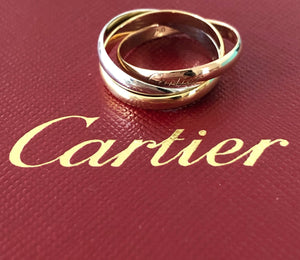 Cartier Trinity Ring Size 52 18ct Yellow White and Rose Gold Packaging Auth Cert