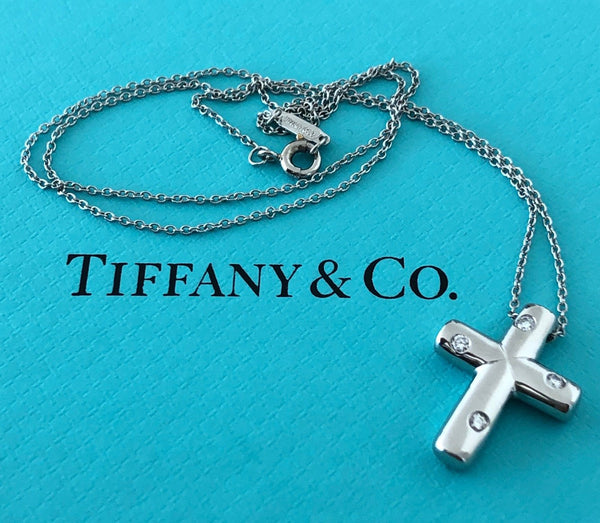 Copy of Tiffany & Co. Solid Platinum and Diamond Etoile Cross Necklace Pendant
