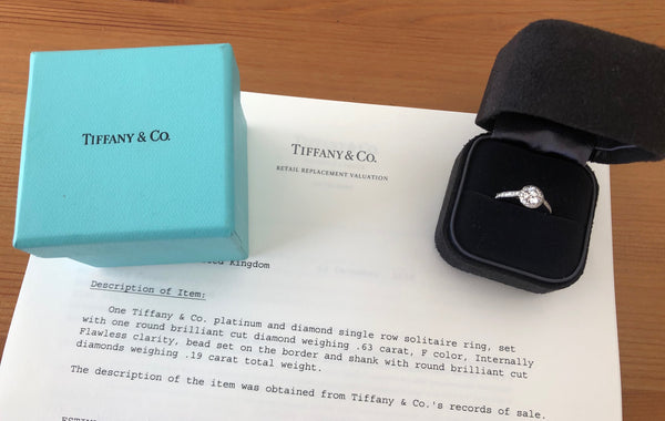 Tiffany & Co. 0.81tcw F/IF Diamond Embrace Round Halo Engagement Ring Cert/Val/Receipt/Boxes