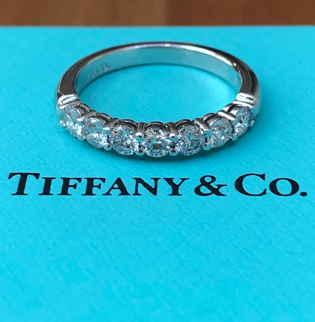 Tiffany & Co. 0.57tcw Diamond Embrace 3mm Half Eternity Band PT950 $9400 Rct/Box