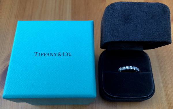 Tiffany & Co. 0.57tcw Diamond Embrace 3mm Half Eternity Band PT950 $8900 Val/Rcpt/Box