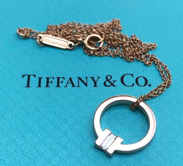 Tiffany & Co. Tiffany T 18ct Rose Gold and 0.06ct Baguette Diamond Pendant Boxes