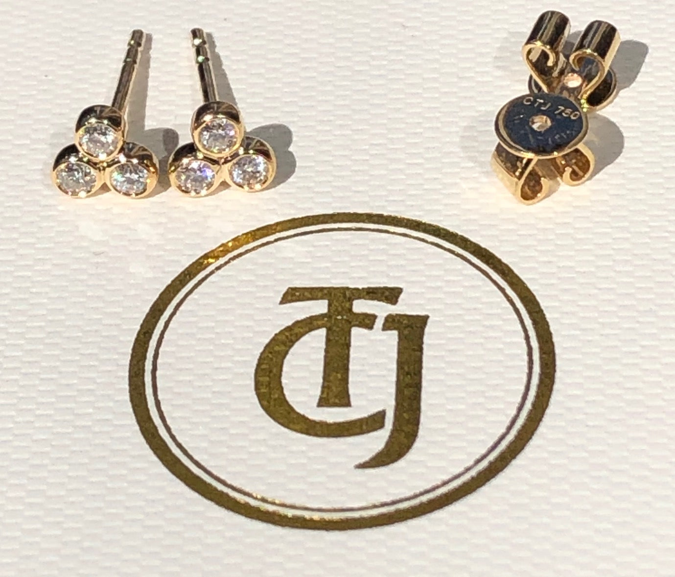 0.18tcw G/SI1 Genuine Diamond Stud 'Cherry Bud' Earrings 18k 18ct Solid Yellow Gold