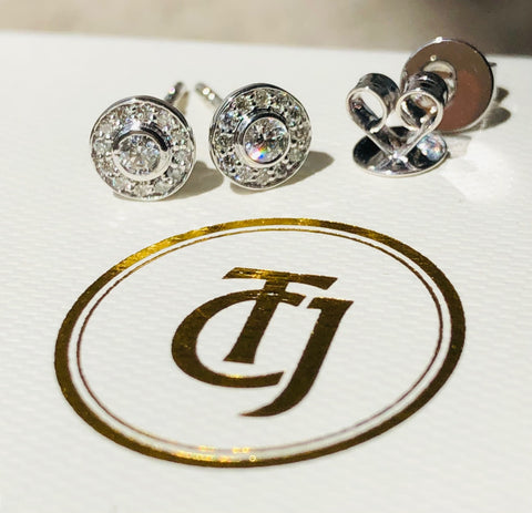 0.28tcw G/SI1 Genuine Diamond Bezel Halo Earrings in 18ct 18k Solid White Gold