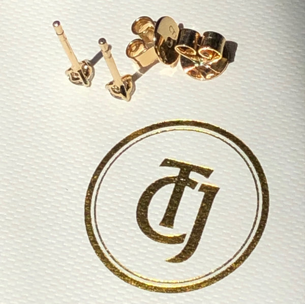 0.20tcw G/SI1 Genuine Diamond Martini Set Mini Earrings 18ct 18k Solid Yellow Gold
