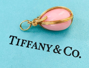 Tiffany & Co. Rare 18ct Yellow Gold and Pink Opal Egg Schlumberger Pendant