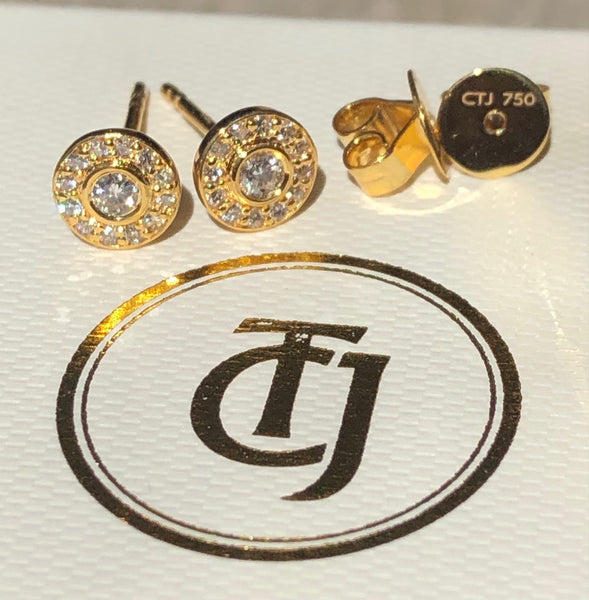 0.28tcw G/SI1 Genuine Diamond Bezel Halo Earrings in 18ct 18k Solid Yellow Gold